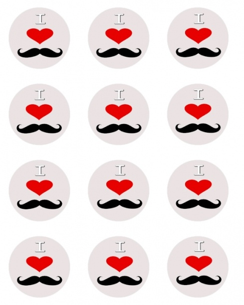 free printable I heart mustache cupcake toppers