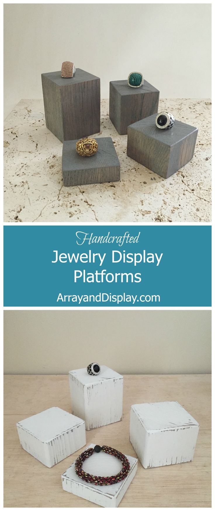 Handcrafted jewelry displays made of locally sourced new and reclaimed wood.  Handcrafted in the USA by ArrayandDisplay.com.  Ring displays, jewelry risers, jewelry platforms, booth displays, boutique displays, craft market displays.