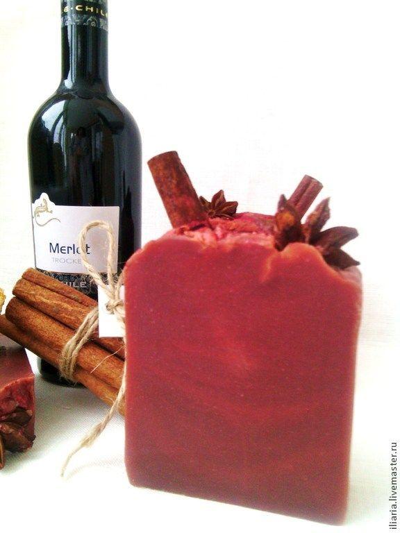 """Натуральное мыло """"Рождественское вино"""" - бордовый,мыло ручной работы"""