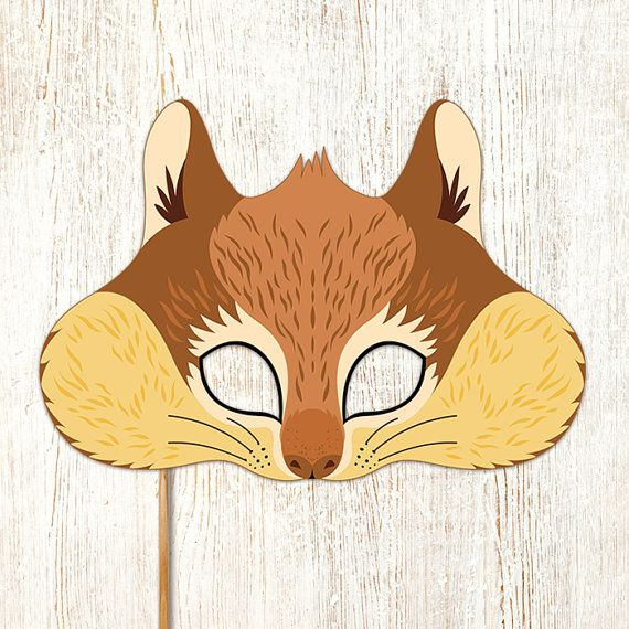 Squirrel Printable Mask Chipmunk Rodent DIY by LMEprintables