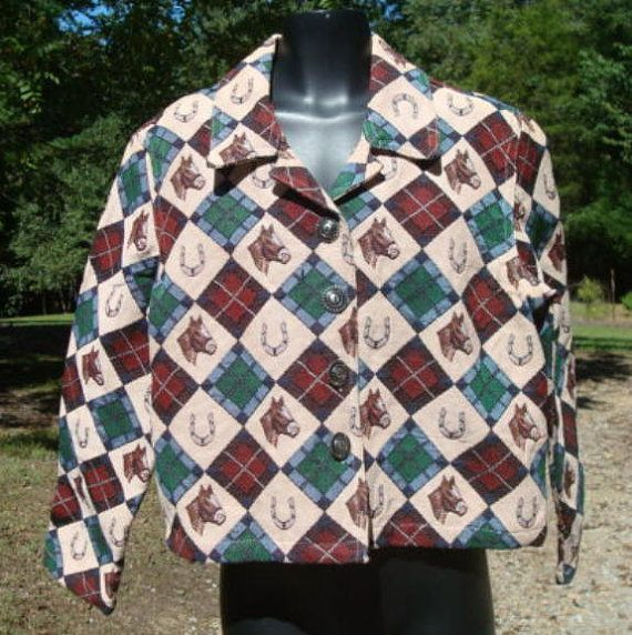 Horse Lover Jacket Horses Horseshoes Rodeo Chic All by kinseysue