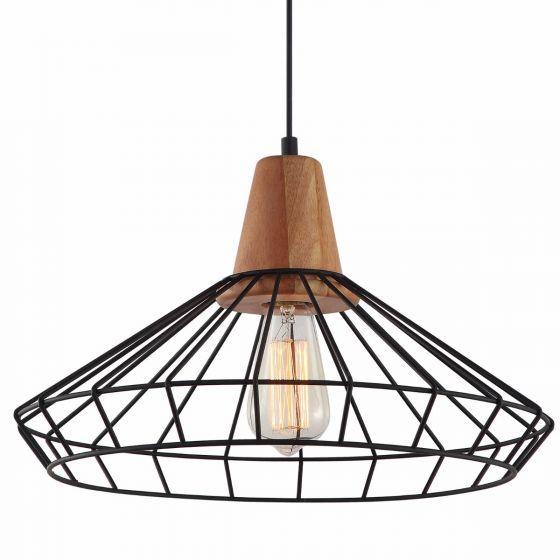 Lampada Stampino Metal Cage & Timber Pendant Light