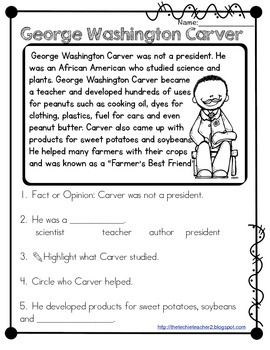 George Washington Carver Reading Passage