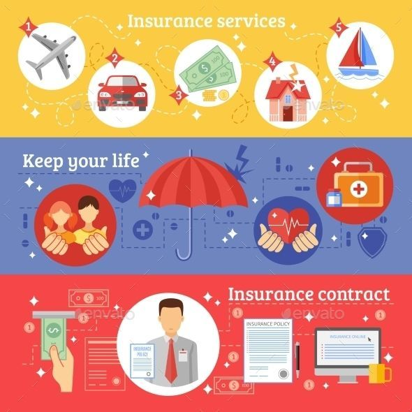 Insurance Banners Set