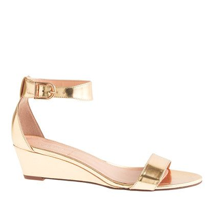 These may be a little too casual for the dress. J.Crew - Lillian mirror metallic low wedges