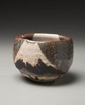 Wakao Toshisada (b. 1933) Tea bowl with nezumi-shino glaze and design of Mt. Fuji with the moon rising on the opposite surface, 1998 Glazed stoneware; 4 x 5 inches Inv# 5306