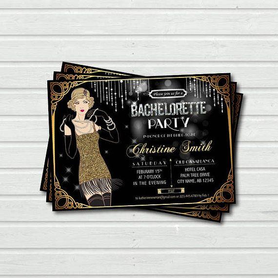 Invitación de la fiesta de despedida de soltera. gran gatsby