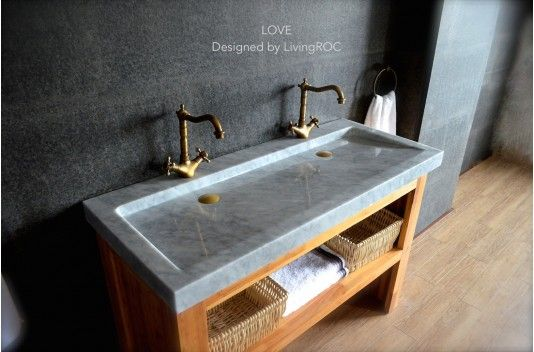 "47"" Double Marble Trough Carrara White Bathroom Sink LOVE"