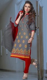 Gray Color Cotton Embroidered Churidar Suit