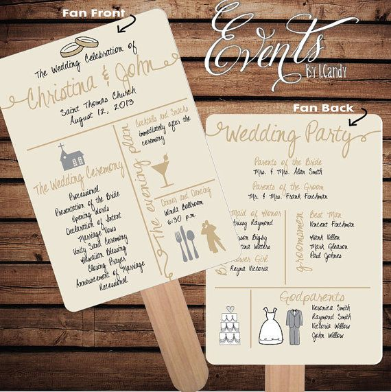 Pre Made Non Custom Sample For 2 Dollars Or Sets Of 50 Printed Wedding Program Fans