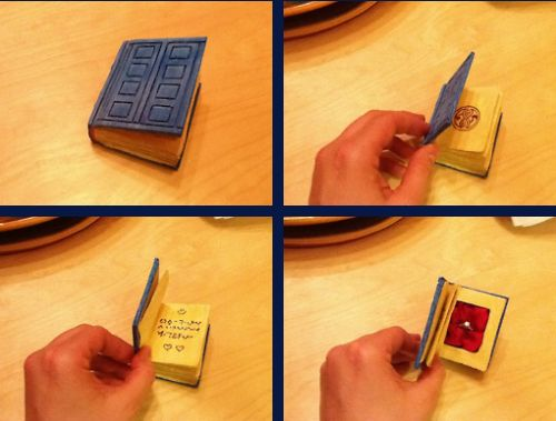 LOVE this DIY Tardis ring box! First you set up a date
