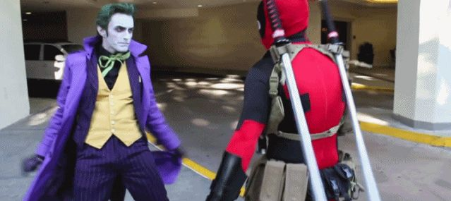 Deadpool and the Joker!! Click for an awesome gif!