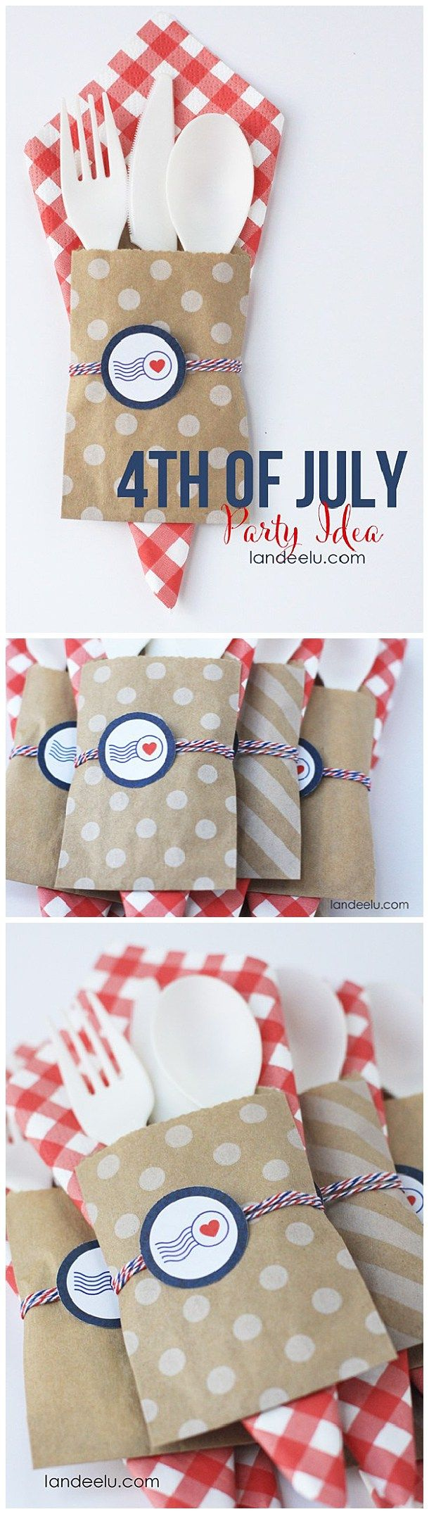 Fourth of July Party Decor: DIY Patriotic Utensil Holders-- so cute!