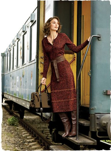 Warmed in exotic, spicemarket hues, jacquard knit dress is ideal for travel.