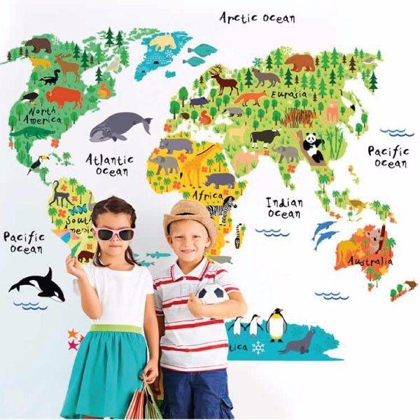Infantil. animal mapa mundi. My vinilo. vinilos decorativos. decoración de pared. papel tapiz. Decohunter. Encuentra donde comprar este producto en Colombia