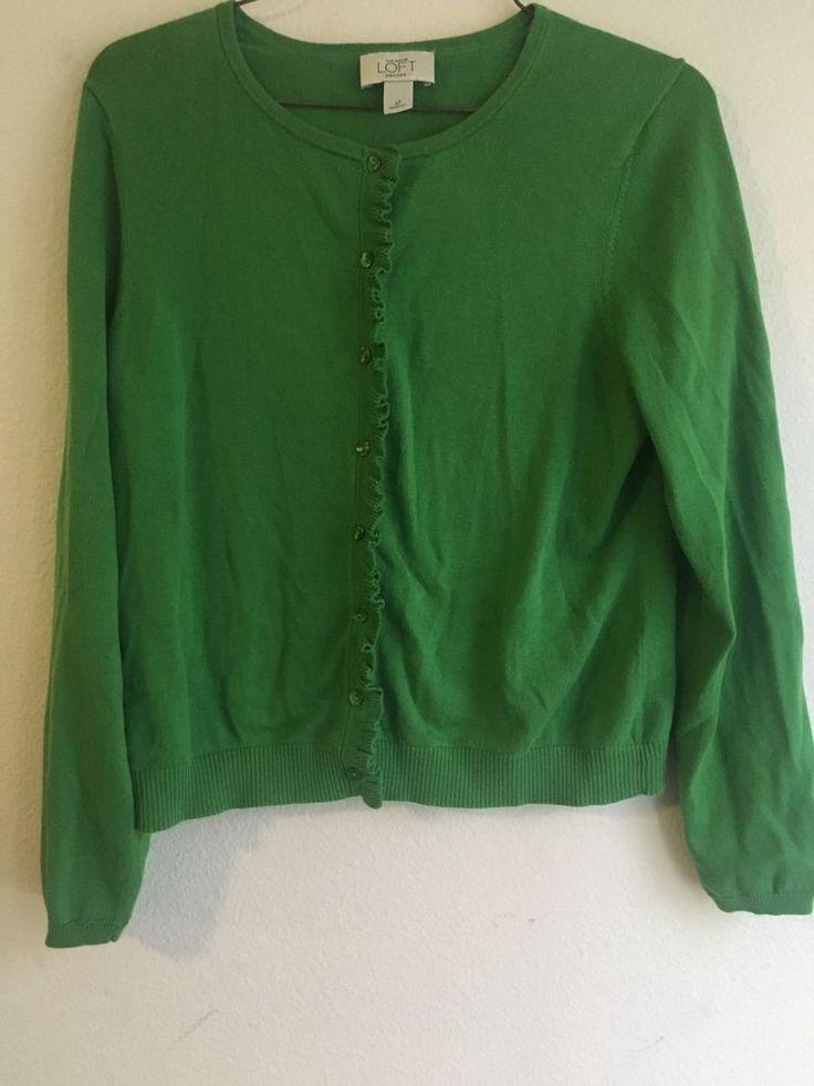 Ann Taylor Loft Petite Sweater Green Ruffles Button Up Cardigan | eBay