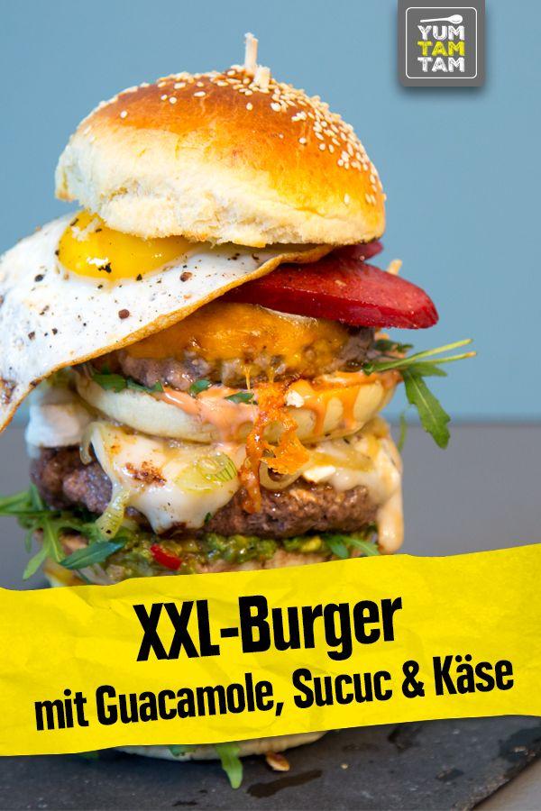 Xxl Burger Mit Guacamole Sucuc Kase Xxl Burger Rezepte Guacamole