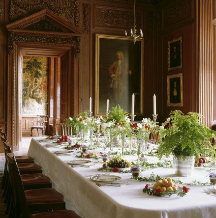 The Dining Room at Lyme Park laid to design number 14, for a dining table from John Perkins'