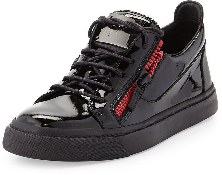 $640, Black Leather Low Top Sneakers: Giuseppe Zanotti Patent Double Zip Low Top Sneaker. Sold by Neiman Marcus.