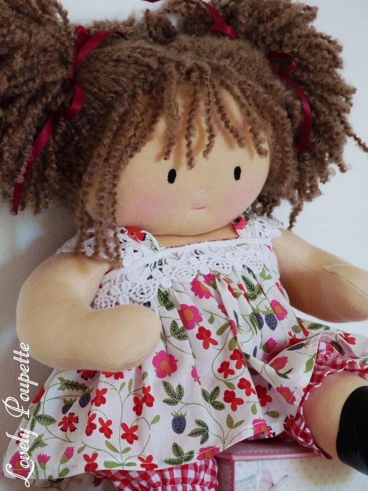 Lilou, poupée de chiffon de 40 cm, inspiration poupée Waldorf