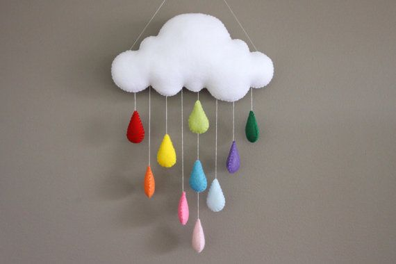 Felt Rainbow Cloud Mobile, Bright, Colourful Raindrops, Baby Nursery, Wall Hanging, Window Hanging
