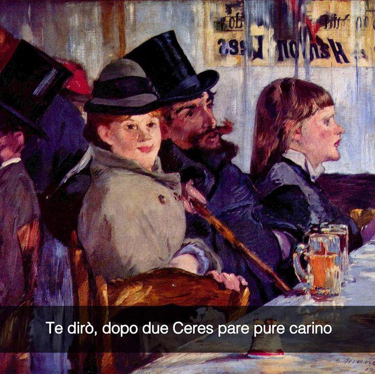 A carnevale ogni memevale. Le feste più social d'Italia sono @ceresofficial sono tantissime sparse in tutta Italia. Cercate l'evento MEMEVALE il Carnevale Social di Ceres su FB per conoscere tutte le feste! :D  Au Café - Edouard Manet (c. 1878)  #seiquadripotesseroparlare  #Ceres