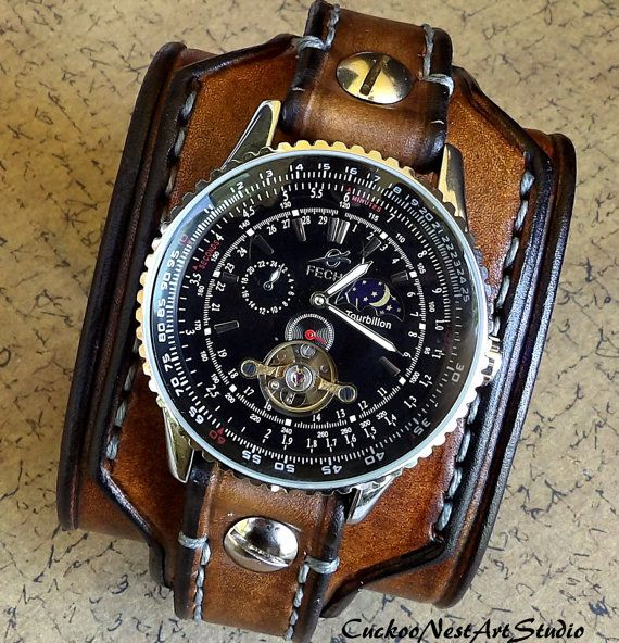 Leather Watch Cuff Men's Leather Watch by CuckooNestArtStudio, $139.00