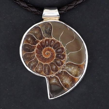 Unique Ammonite Fossil Pendant In Silver - Native American Jewelry - Tribal Jewelry - Unique Jewelry  Ammonite is a stone of protection. It provides for insight and it helps to assist one in seeing the whole picture. Gives stability to it's user. Since it is associated with the Root Chakra, it encourages ones survival instincts and is grounding.  The Ammonite is a Fossil, it takes many thousands of year for this Shell to fossilised and become as hard as a rock.  Pendant Size: 30mm $41