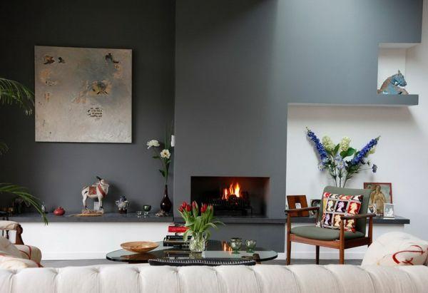 cheminée contemporaine minimaliste, intérieur original