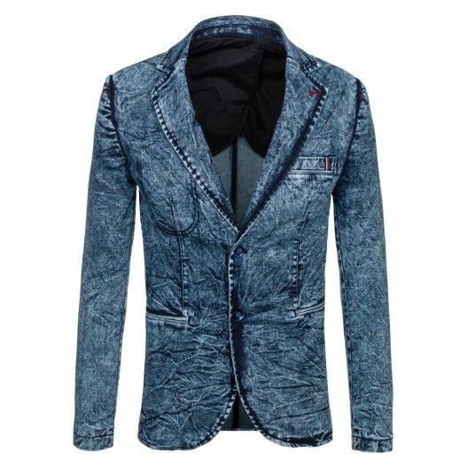 Moderné pánske sako modrej farby s džínsovým vzorom - fashionday.eu