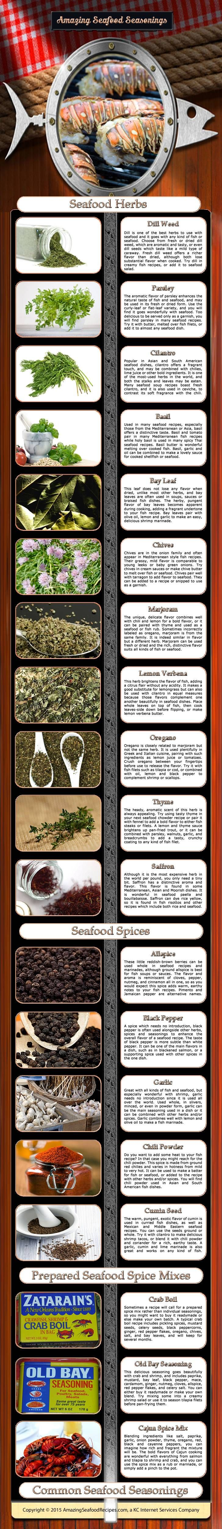 Infograph showing many of the common herbs and spices used in the preparation of seafood dishes. This is not an all-inclusive list but gives a... #seafoodseasoning
