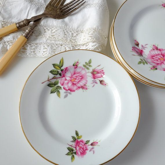 6 Vintage China Royal Grafton floral fine-bone china plates