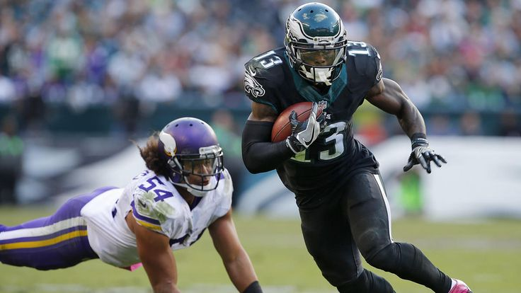 Eagles vs. Vikings  -  21-10, Eagles  -  October 23, 2016    Philadelphia Eagles' Josh Huff (13) gets by Minnesota Vikings' Eric Kendricks after making a catch for a first down during the fourth quarter Sunday.