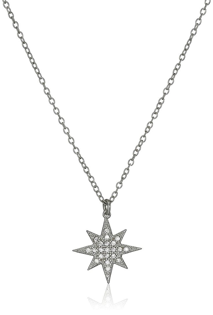 Sterling Silver Cubic Zirconia Star Chain Pendant Necklace, 16' 1' Extender ** More info could be found at the image url.