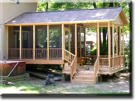 Project Includes Low Maintenance Screen Porch With Arch Trim Detail  Adjacent Open Deck With Steps To Grade.