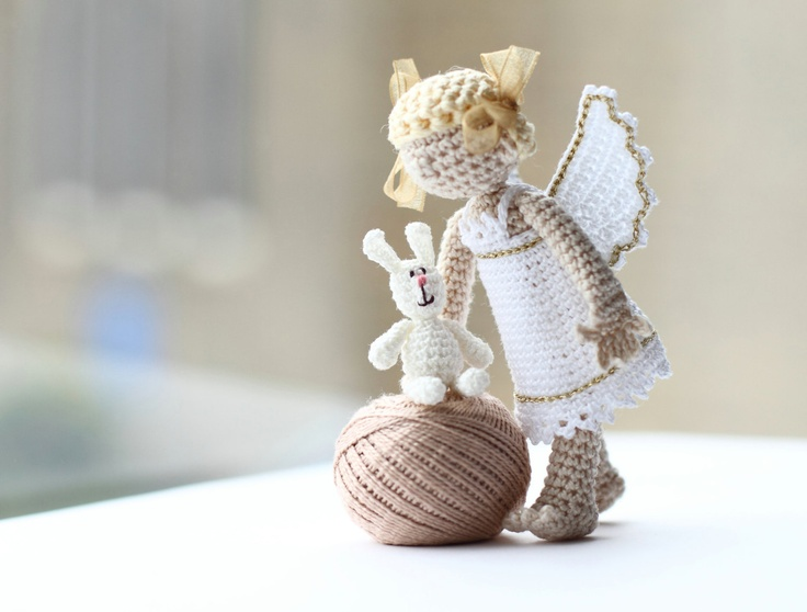 Collectable Art Doll Angel with rabbit Crochet by FancyKnittles