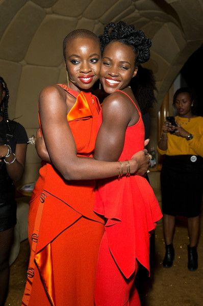 Actors Danai Gurira and Lupita Nyong'o pose for a picture during the DANAI x One x Love Our Girls celebration at The Top of The Standard on February 12, 2018 in New York City. - DANAI x ONE x LOVE OUR GIRLS Celebration
