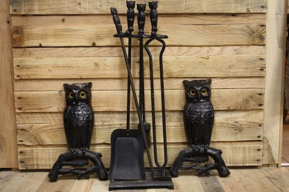 Cast Iron Owl Andirons & Fireplace Tools