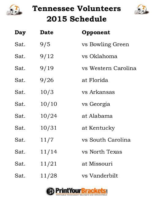 Printable Tennessee Volunteers Football Schedule 2015
