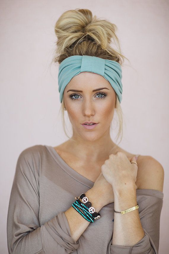 Mint Green Turband Wide Headband Sparrow Headband in Mint Stretchy Jersey Hair Band Ruched with Fabric Wrap (HB-165) on Etsy, $18.00