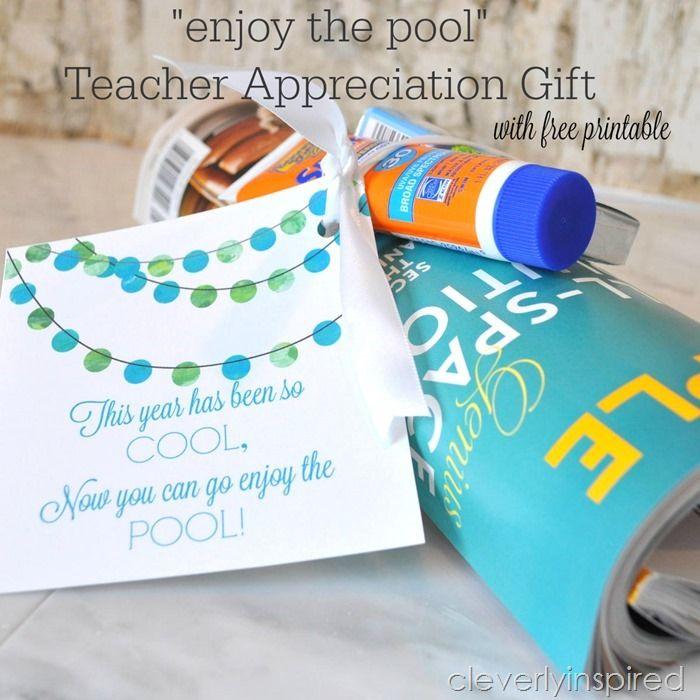 """Enjoy the Pool"" Teacher Appreciation Gift Free Printable   Skip To My Lou   Bloglovin'"