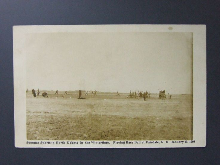 Fairdale North Dakota ND Winter Baseball Game Real Photo Postcard RPPC 1908