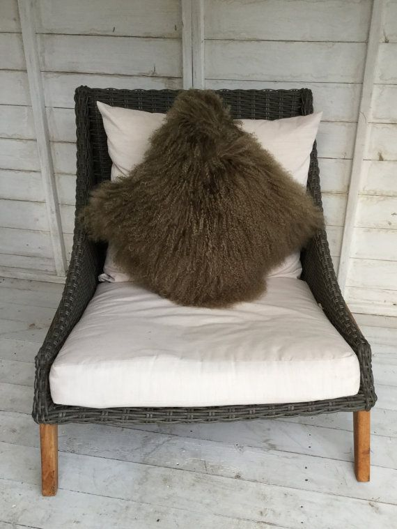 Tibetan Mongolian sheepskin cushion complete . In a taupe colour by Swedishdalahorse #TrendingEtsy
