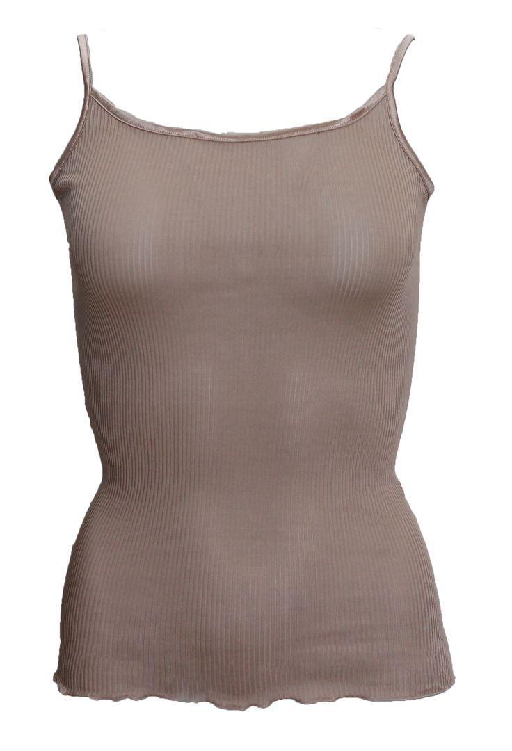 www.verawilliam.no LB-22-SIR Rib Camisole Vintage Pink [Champagne - Black - Slate Grey] Sz. 36 - 38 - 40 Pure Silk NOK: 1000,-