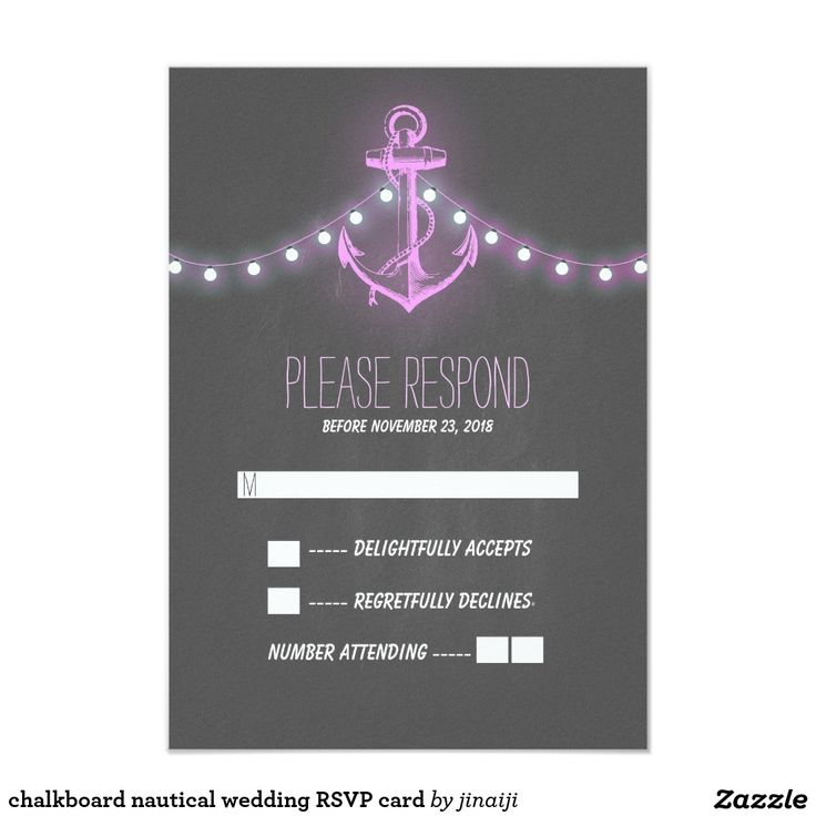 chalkboard nautical wedding RSVP card Rustic vintage anchor and purple string lights chalkboard nautical wedding reply cards