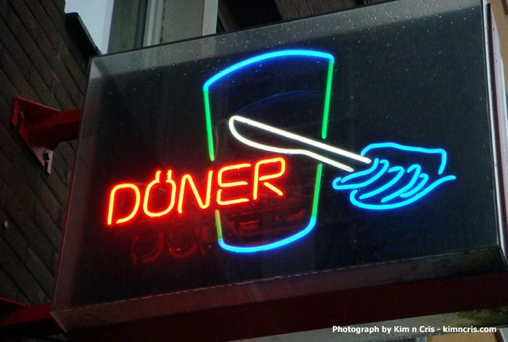 Döner shop sign.  Many döner shops have neat neon signs. Photo by Kim n Cris…