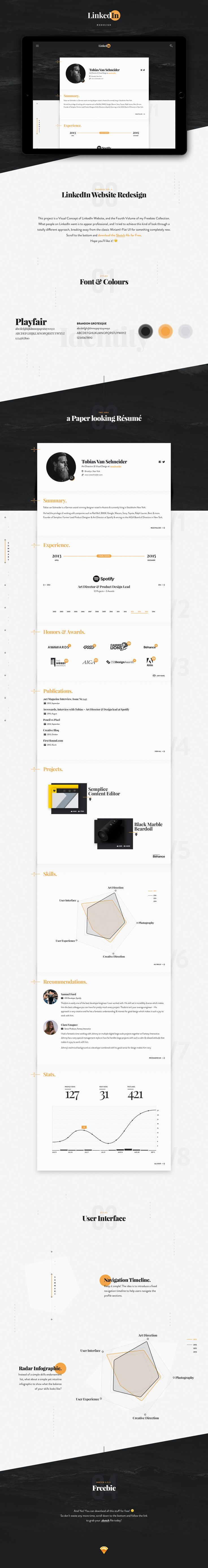 type + color | This project is a Visual Concept of LinkedIn Website, and the Fourth Volume of my Freebies Collection.What people on LinkedIn want is to appear professional, and I tried to achieve this kind of look through a totally different approach, breaking away fro…