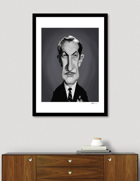 Discover «Vincent Price», Numbered Edition Fine Art Print by rob art | illustration - art | decor | wall art | inspiration | caricature | home decor | idea | humor | gifts