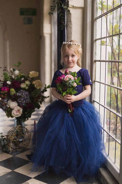 240ebfca09c So nice to see a flower girl not wearing white! Red berry and navy wedding  ideas flower girl bridesmaid.