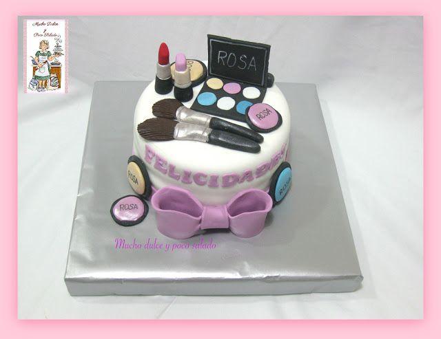Tarta maquillaje, maquillaje, tarta fondant
